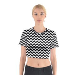 Black And White Zigzag Cotton Crop Top