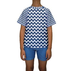 Dark Blue And White Zigzag Kid s Short Sleeve Swimwear