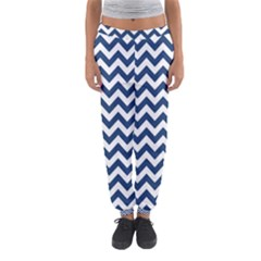 Dark Blue And White Zigzag Women s Jogger Sweatpants