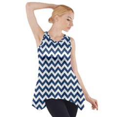 Dark Blue And White Zigzag Side Drop Tank Tunic