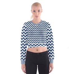 Dark Blue And White Zigzag Women s Cropped Sweatshirt