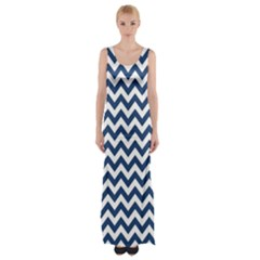 Dark Blue And White Zigzag Maxi Thigh Split Dress