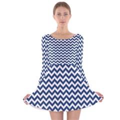 Dark Blue And White Zigzag Long Sleeve Velvet Skater Dress