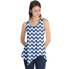 Dark Blue And White Zigzag Sleeveless Tunic