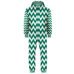 Emerald Green And White Zigzag Hooded Jumpsuit (men)