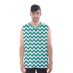 Emerald Green And White Zigzag Men s Basketball Tank Top