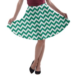 Emerald Green And White Zigzag A Line Skater Skirt