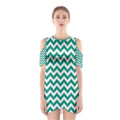 Emerald Green And White Zigzag Cutout Shoulder Dress