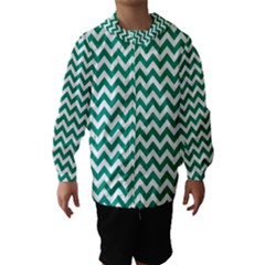 Emerald Green And White Zigzag Hooded Wind Breaker (Kids)
