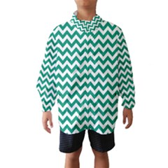 Emerald Green And White Zigzag Wind Breaker (kids)