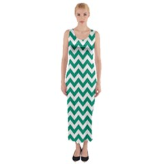 Emerald Green And White Zigzag Fitted Maxi Dress
