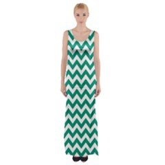 Emerald Green And White Zigzag Maxi Thigh Split Dress