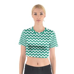 Emerald Green And White Zigzag Cotton Crop Top
