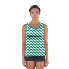 Emerald Green And White Zigzag Tops