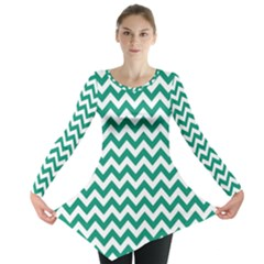 Emerald Green And White Zigzag Long Sleeve Tunic