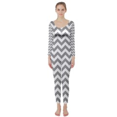 Grey And White Zigzag Long Sleeve Catsuit