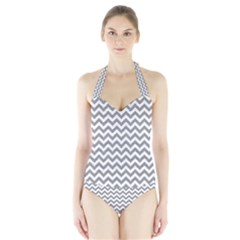 Grey And White Zigzag Women s Halter One Piece Swimsuit
