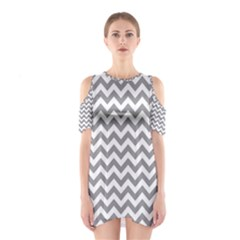 Grey And White Zigzag Cutout Shoulder Dress