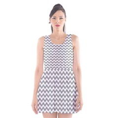 Grey And White Zigzag Scoop Neck Skater Dress