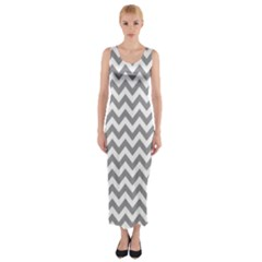 Grey And White Zigzag Fitted Maxi Dress
