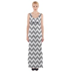 Grey And White Zigzag Maxi Thigh Split Dress