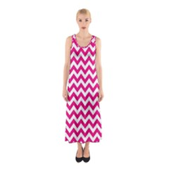 Hot Pink And White Zigzag Full Print Maxi Dress