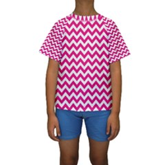 Hot Pink And White Zigzag Kid s Short Sleeve Swimwear
