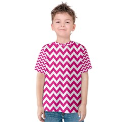 Hot Pink And White Zigzag Kid s Cotton Tee