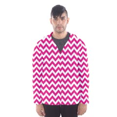 Hot Pink And White Zigzag Hooded Wind Breaker (men)