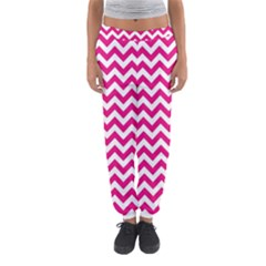 Hot Pink And White Zigzag Women s Jogger Sweatpants