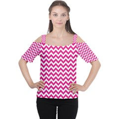 Hot Pink And White Zigzag Women s Cutout Shoulder Tee