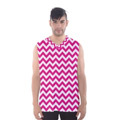 Hot Pink And White Zigzag Men s Basketball Tank Top