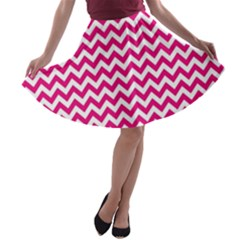 Hot Pink And White Zigzag A-line Skater Skirt