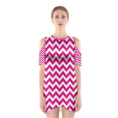 Hot Pink And White Zigzag Cutout Shoulder Dress