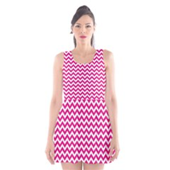 Hot Pink And White Zigzag Scoop Neck Skater Dress