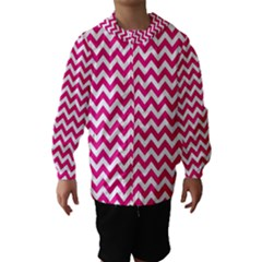 Hot Pink And White Zigzag Hooded Wind Breaker (Kids)