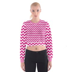 Hot Pink And White Zigzag Women s Cropped Sweatshirt