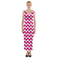 Hot Pink And White Zigzag Fitted Maxi Dress