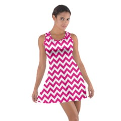 Hot Pink And White Zigzag Racerback Dresses