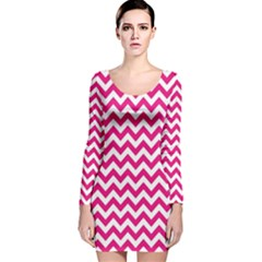 Hot Pink And White Zigzag Long Sleeve Velvet Bodycon Dress