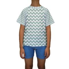 Jade Green And White Zigzag Kid s Short Sleeve Swimwear