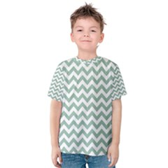 Jade Green And White Zigzag Kid s Cotton Tee