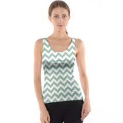 Jade Green And White Zigzag Tank Top
