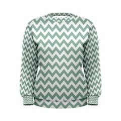 Jade Green And White Zigzag Women s Sweatshirt