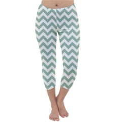 Jade Green And White Zigzag Capri Winter Leggings