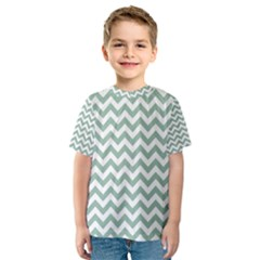 Jade Green And White Zigzag Kid s Sport Mesh Tee
