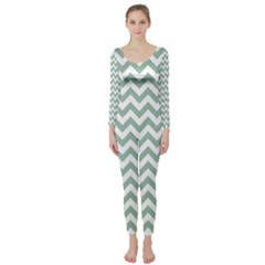 Jade Green And White Zigzag Long Sleeve Catsuit