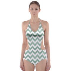 Jade Green And White Zigzag Cut-Out One Piece Swimsuit