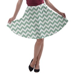 Jade Green And White Zigzag A-line Skater Skirt