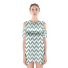 Jade Green And White Zigzag Cutout Shoulder Dress